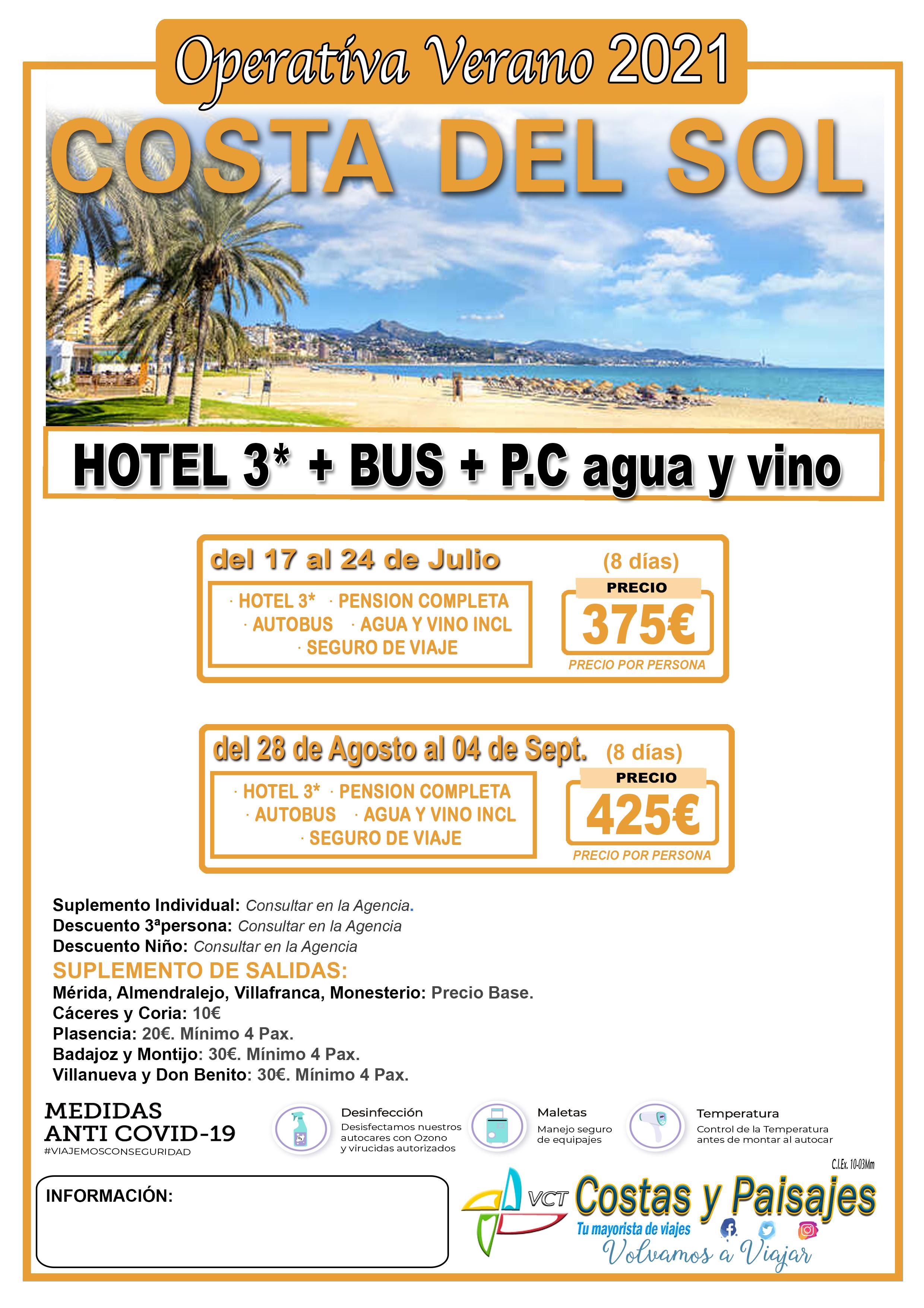 Costa del Sol Bus+Hotel Operativa 2020