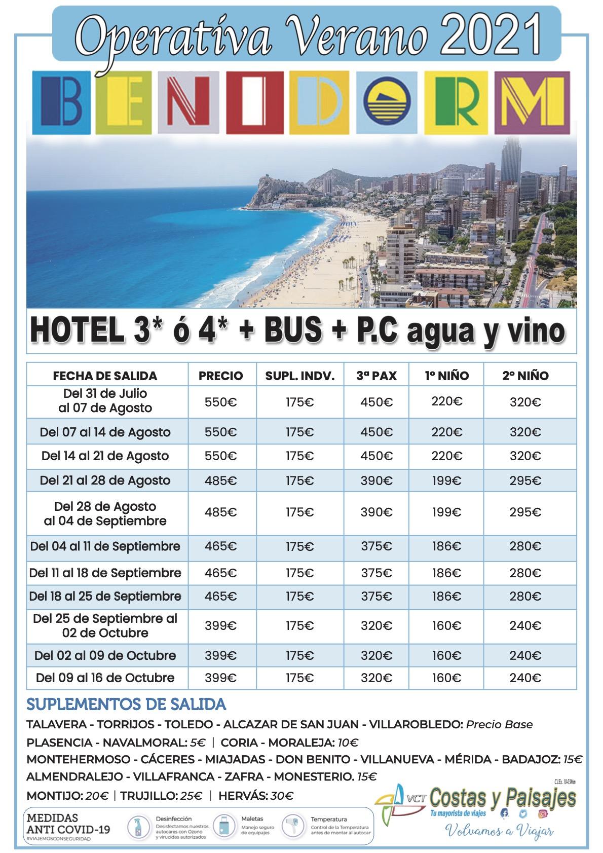 Benidorm Bus+Hotel Operativa 2021